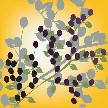 Olives, art illustration on yellow illustration