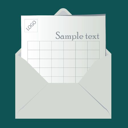 Open envelope with sheet for logo and sample text photo