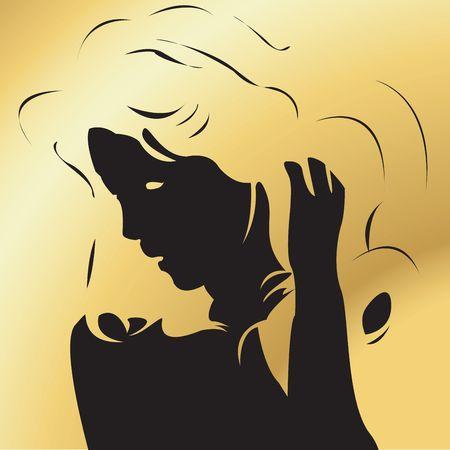 golden hair: Portrait of a beautiful girl with golden hair