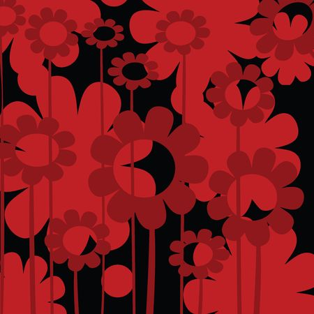 Floral background card in red tones, illustration for web design illustration