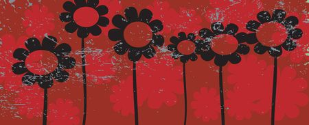 Grunge flowers illustration, art Stock Illustration - 6195857
