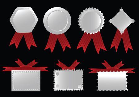 Silver ribbon collection, editable illustration. Stock Illustration - 6187270