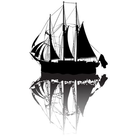 Sailing boat silhouette view from a side Stock Photo - 6187298