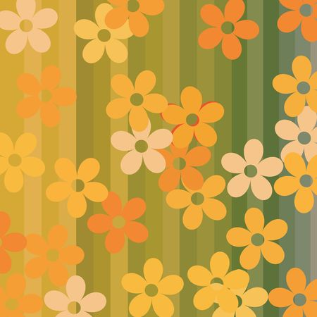 Seamless flowers and stripes background illustration Stock Illustration - 6197121