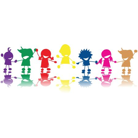 kids painting: Silhouettes of children in colors and races holding hands