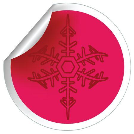 Snowflake label, sticker illustration Stock Illustration - 6197463