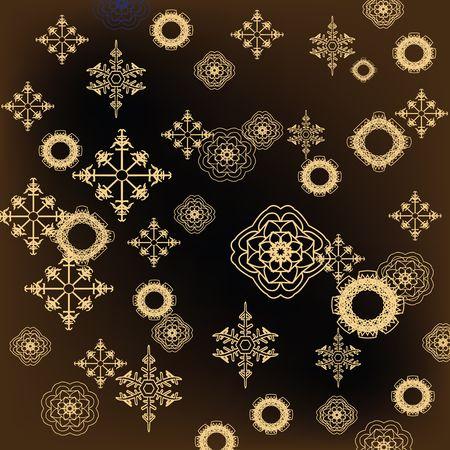Golden snowflakes on dark background photo
