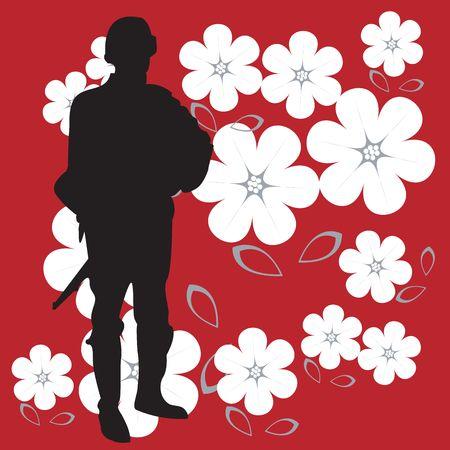 silhouette soldat: Silhouette de soldat sur fond de puissant et rouge vif avec des fleurs Banque d'images