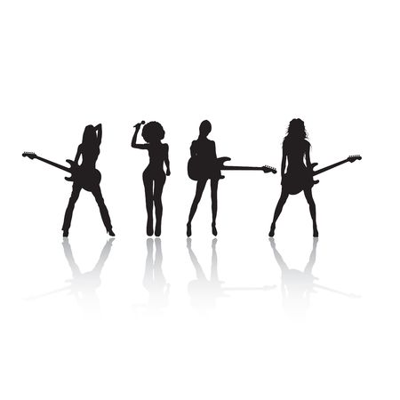 Rock stars silhouettes on white, with reflection photo