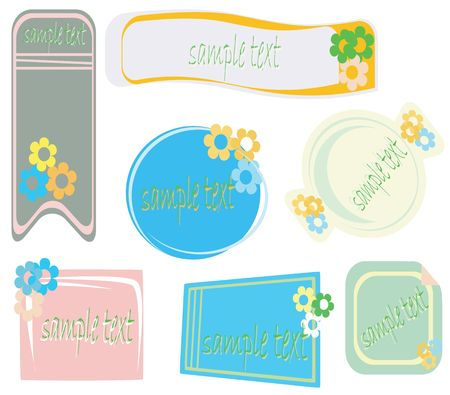 Stickers with flowers and text sample space Stock Photo - 6196657
