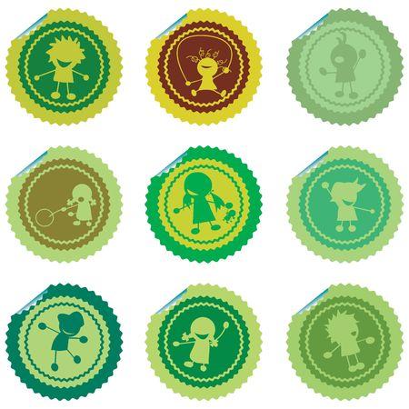 Fresh set of stylized children stickers, green vectors Stock Photo - 6196475