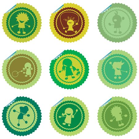 Fresh set of stylized children stickers, green vectors Stock Photo - 6196475