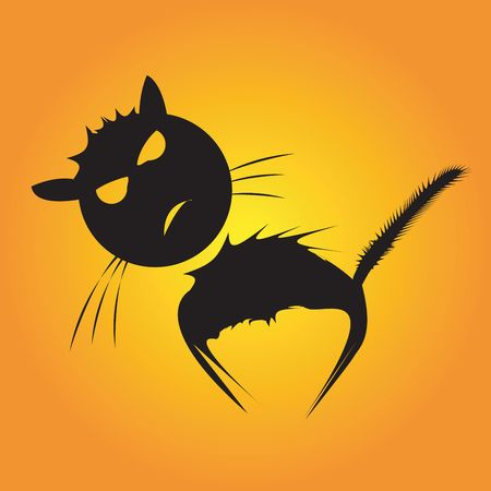 Stressed cat, silhouette  illustration Stock Illustration - 6197504