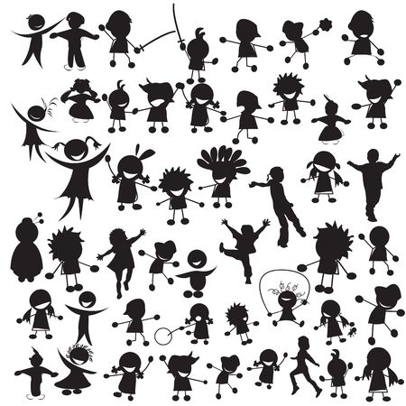 Stylized silhouettes of happy children photo
