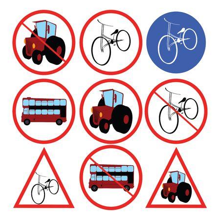 Stylized traffic signs, illustration Stock Illustration - 6187360
