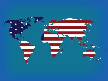 hi resolution: Mapa mundial con americano bandera, Hola ilustraci�n de resoluci�n