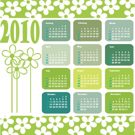 almanacs: ecological calendar for 2010 with white flowers