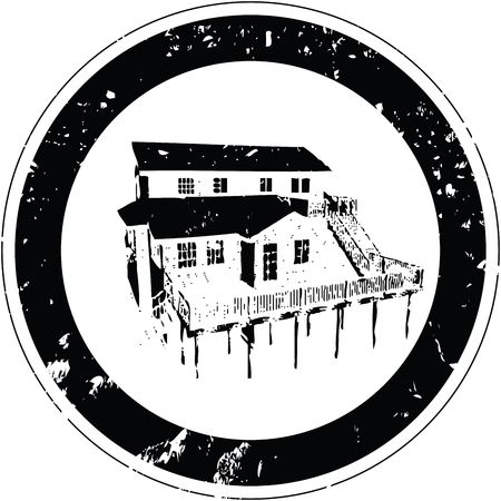 Stylized stamp with a rustic inn photo
