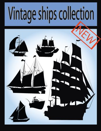 Vintage ship collection, isolated for easy design Stock Photo - 6195802