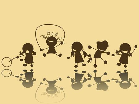 children playing: Children playing silhouettes Stock Photo