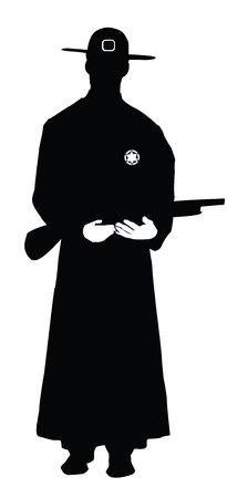 Sheriff with shotgun silhouette isolated on white photo