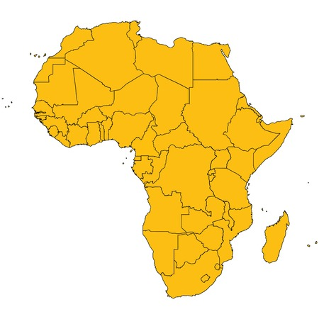 diagrammatic: Africa map, isolated and grouped countries of Africa on white