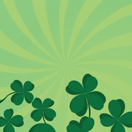 four leafed clover: Composici�n de tr�bol de cuatro hojas con espacio para el texto Vectores