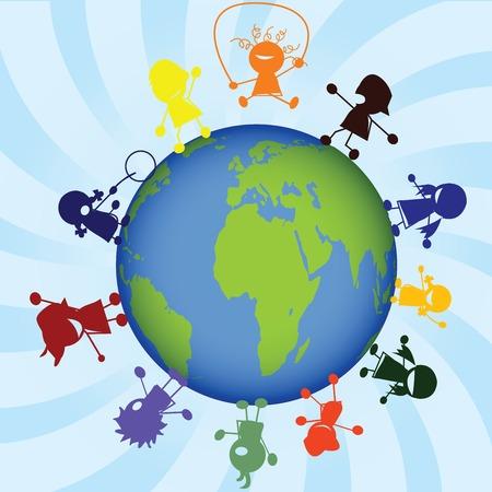 Childrens around the globe Vector