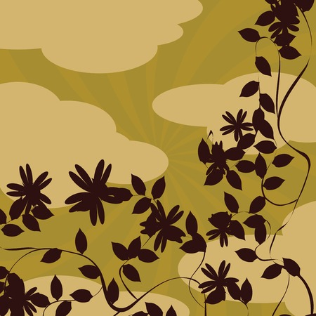 saturated: floral background in warm colors Illustration