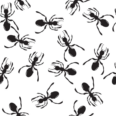 Seamless repeating ant silhouettes pattern   Vector
