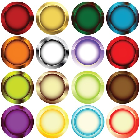 blue circles: Metallic rim buttons in colors Illustration