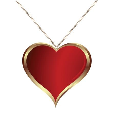 medaglione: pendand cuore su sfondo bianco Vettoriali