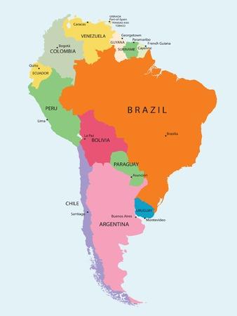 Mapa detallado de América del sur, vector