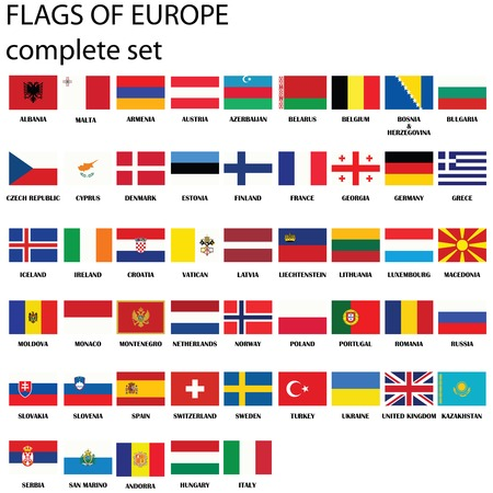 Flags of Europe, complete set, vector