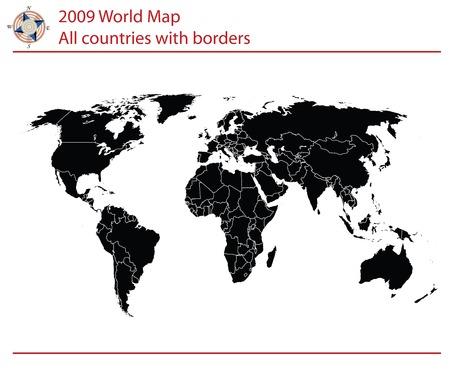 국가 및 테두리와 편집 가능한 세계지도