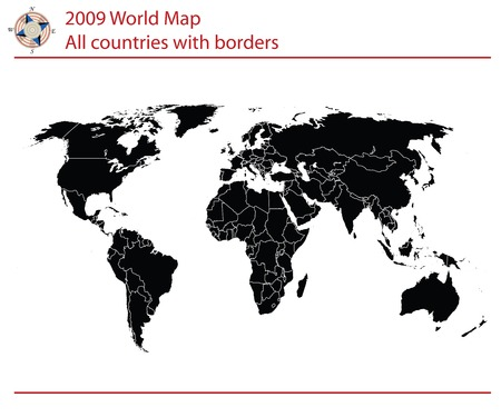 south east asia: Mappa del mondo modificabile con i paesi e le frontiere Vettoriali