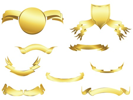 insignias: Shield and banner design elements over white background Illustration
