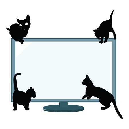 Black cats silhouettes watching tv Stock Vector - 6387914