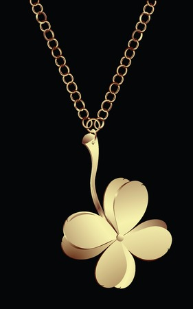 Golden pendant with lucky four leaves clover Vector