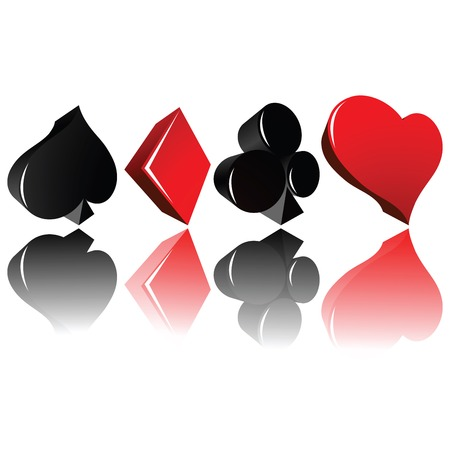 Playing cards suits in 3d Stock Vector - 6387922