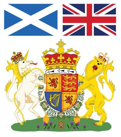 edinburgh: Schotse koninklijke wapen met vlaggen van Schotland en Groot-Brittanni Stock Illustratie