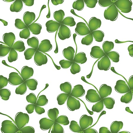 Bckckground with fresh four leaves clover, pattern Stock Vector - 6387923