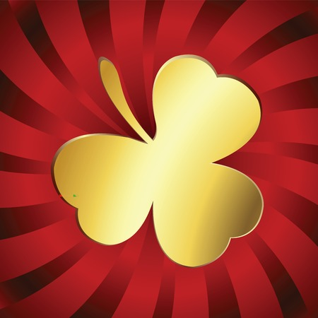 goodluck: Golden lucky clover over red stripes background