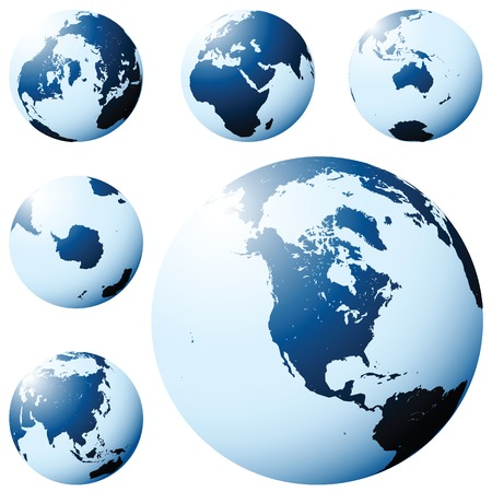 americas: Planet Earth map from six views in blue