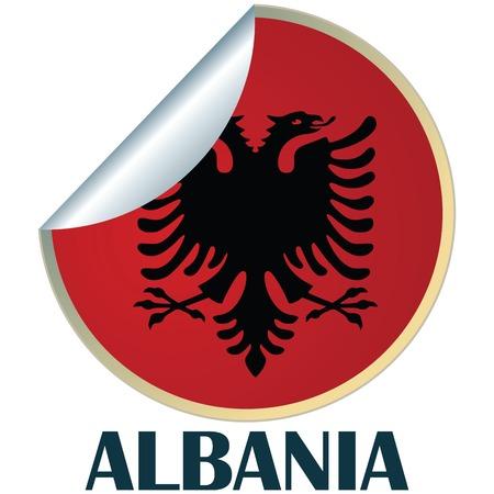 albanie: Sticker with flag of Albania