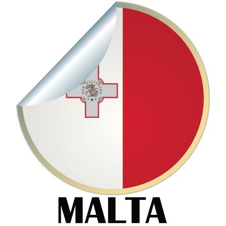 malta: Sticker with flag of Malta Stock Illustratie