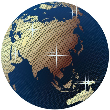 gold earth: Earth globe, Disco ball with world map over a white background Illustration