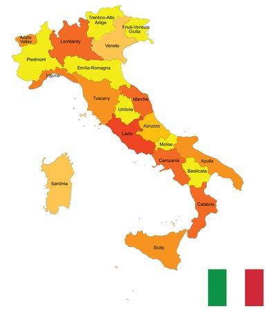 florence italy: Provincie di Italia mappa su sfondo bianco Vettoriali