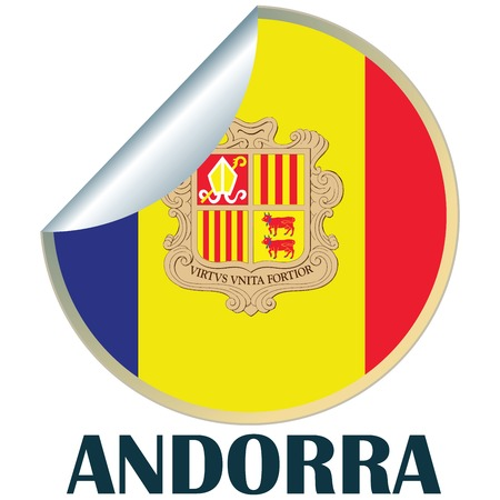 tourism in andorra: Sticker with flag of Andorra