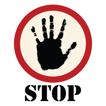 warning attention sign: Stop sign with grunge hand, isolated object on white background
